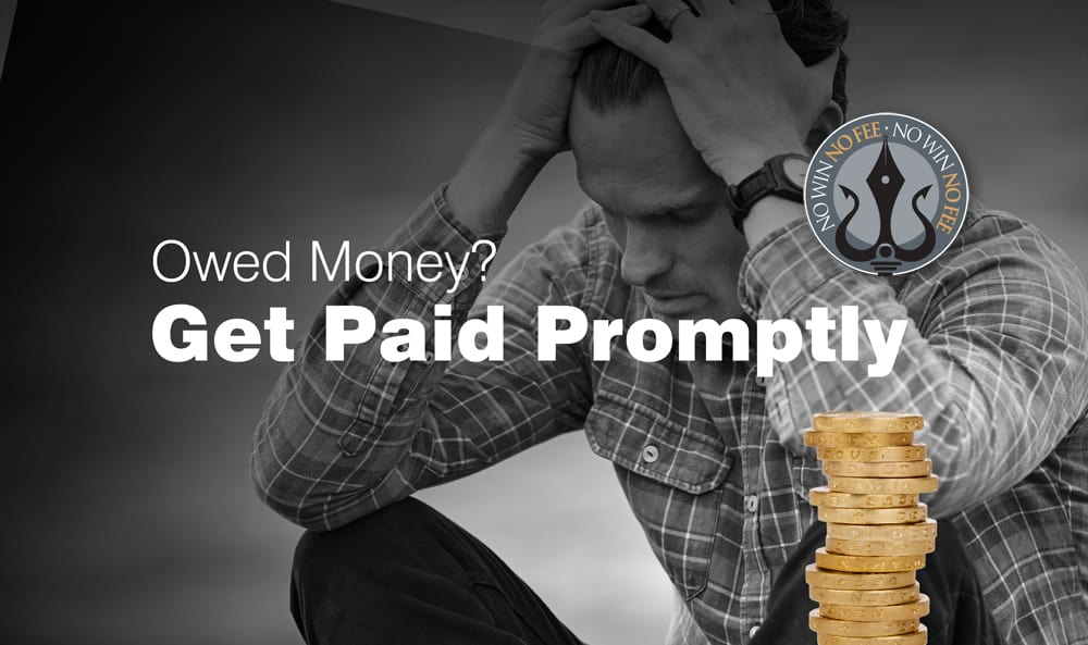 Businessman owed money : Head in hands : Get paid promptly by using the no win no fee service from Trident Legal Services in Dale Street, Liverpool.